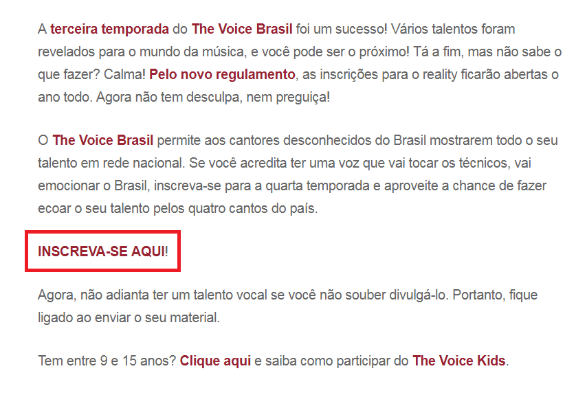 Inscrições The Voice Brasil 2020
