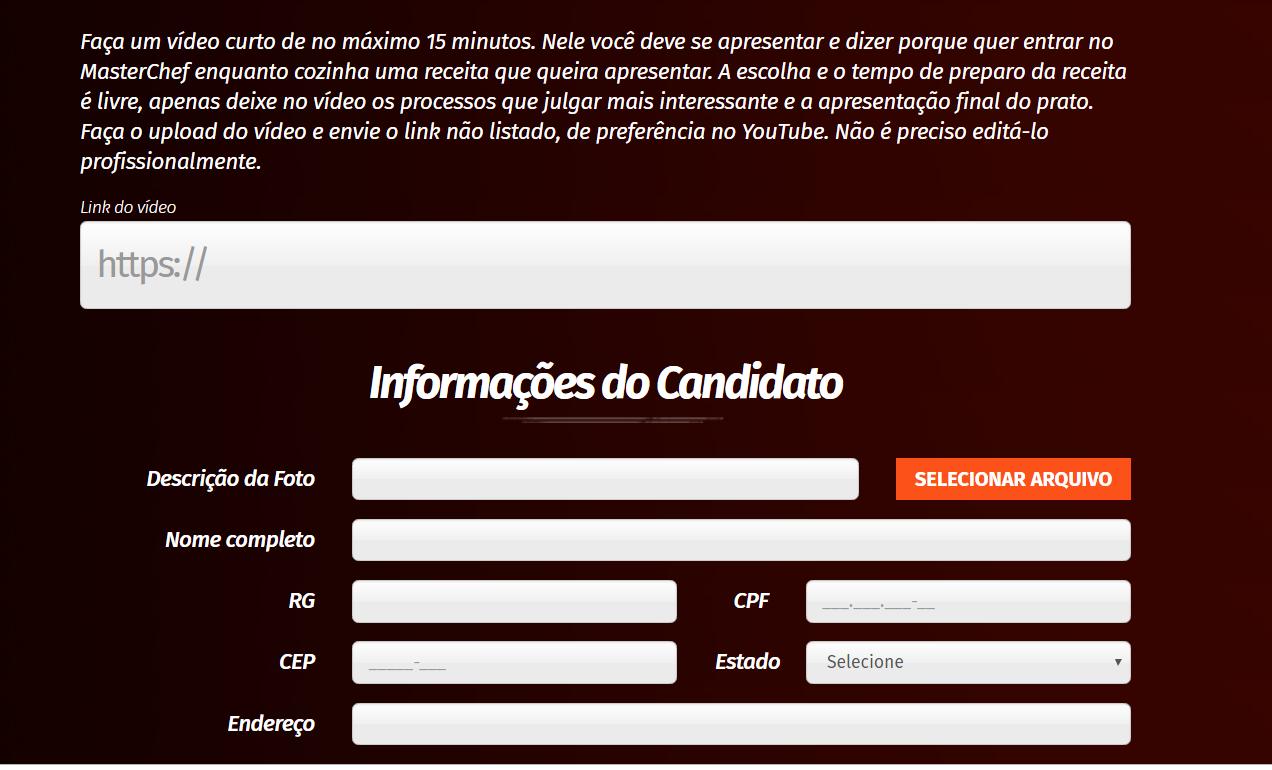Inscrição MasterChef Brasil 2020