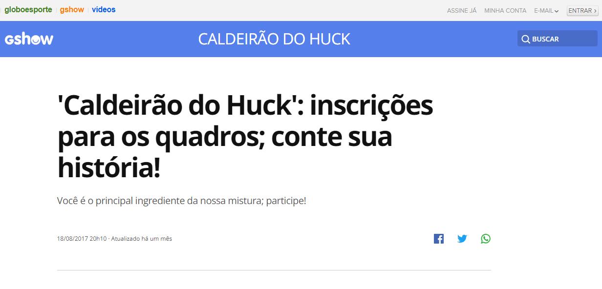Caldeirão do Huck Inscrições