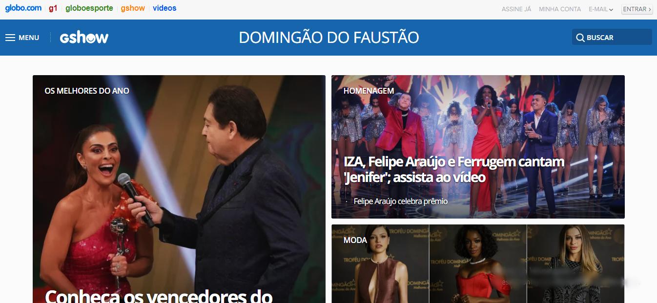 Site Oficial do Domingão do Faustão