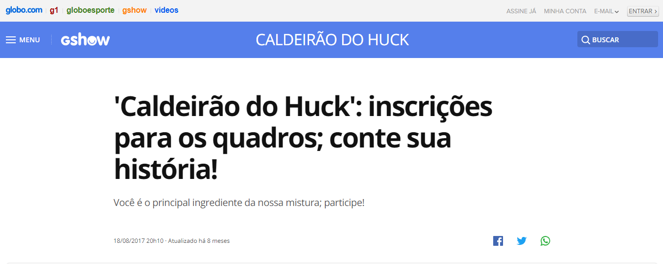 Programa Caldeirão do Hulk Inscrições