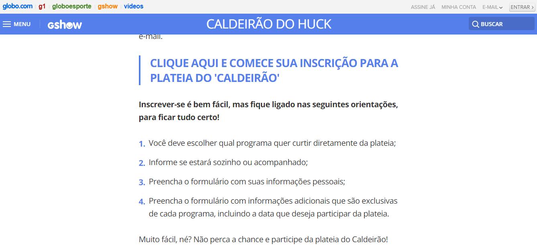 Site Caldeirão do Huck